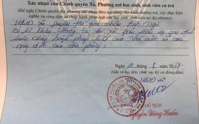 Ngày 10/8, UBND xã Duyên Hà đã đính chính lại bút phê dưới bản lý lịch của em Ngô V.A.