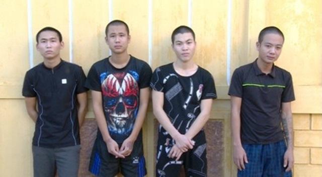 4 trong 5 đối tượng dùng hung khí đến trụ sở công an xã Thái Dương gây rối (ảnh: Công an Thái Bình)