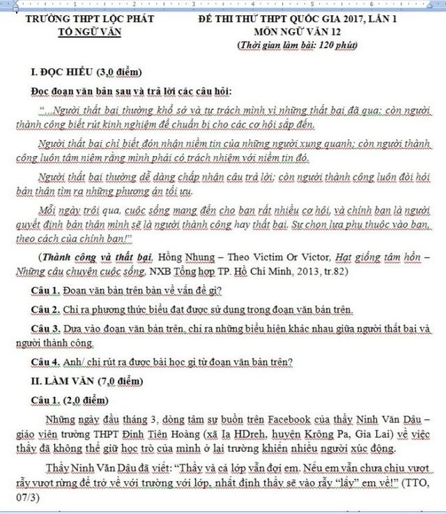 Đề thi môn Ngữ Văn của Trường THPT Lộc Phát (ảnh Nguyễn Hoàng Chương)