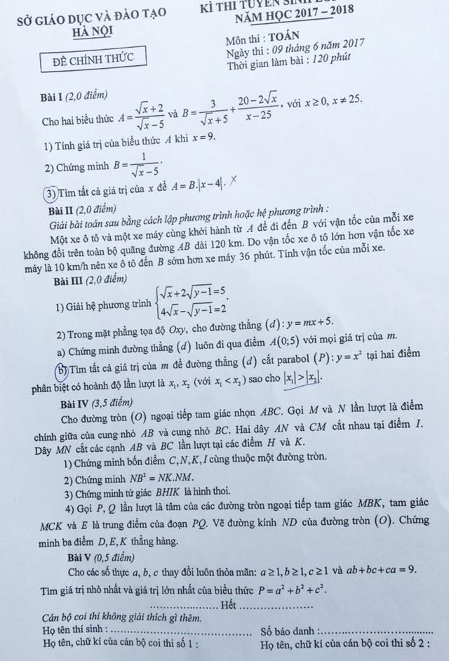 Đề thi và đáp án tham khảo môn Toán vào lớp 10 THPT của Hà Nội - 1
