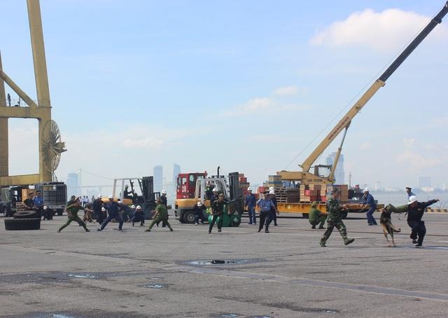 Lực lượng công an, Bộ đội biên phòng, an ninh cảng Đà Nẵng sử dụng chó nghiệp vụ vây bắt 5 đối tượng khủng bố tại khu vực cầu cảng