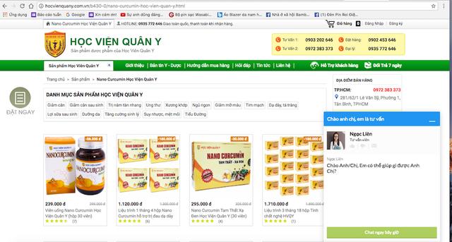 Các website quảng cáo loại thực phẩm chức năng NANOCURCUMIN - TAM THẤT – XẠ ĐEN lấy danh nghĩa Học viện Quân y đều là giả mạo.