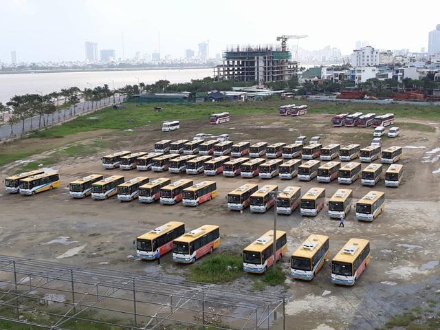 Do tài xế, nhân viên ngưng việc nên xe buýt cũng nằm một chỗ