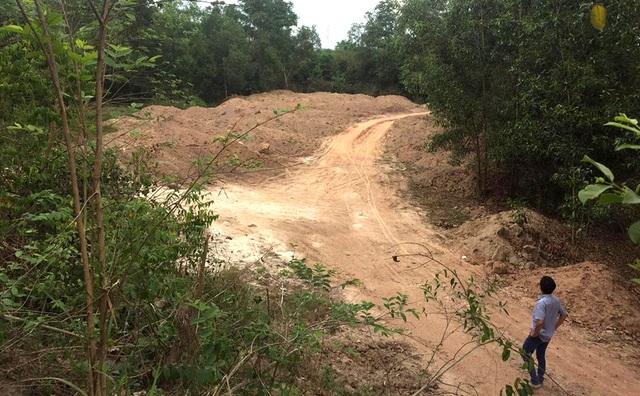 Hàng trăm ngàn khối đất đào được đổ xuống hố của một công ty có liên quan trực tiếp đến công trình nâng cấp tuyến đường liên ấp Kiến An - Tân Lập.