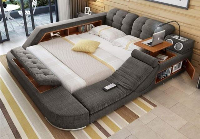 Mẫu giường trong mơ dành cho những người lười di chuyển. Được biết, chiếc giường này tích hợp tất cả mọi tiện nghi mà chúng ta có thể mơ ước đến như: hệ thống âm thanh chất lượng cao, đèn cây có khả năng điều chỉnh, hàng loạt hốc chứa đồ, bàn để vi tính và nguyên cả một bộ sôpha.