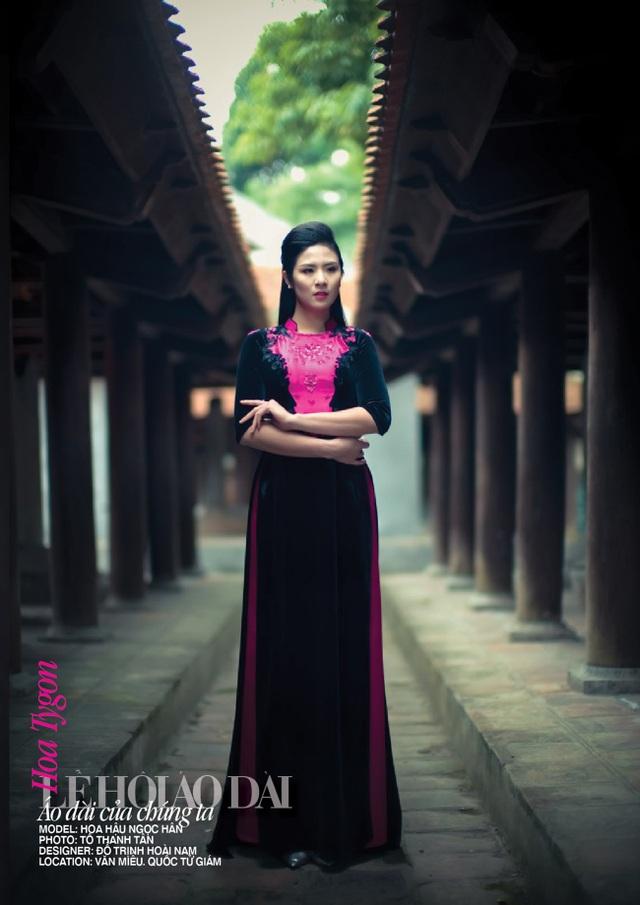 Hoa hậu Ngọc Hân mặc một trong những thiết kế áo dài của NTK Đỗ Trịnh Hoài Nam.