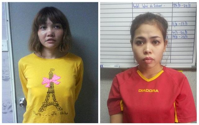 Nghi phạm Việt Nam Đoàn Thị Hương và nghi phạm Indonesia Siti Aishah. (Ảnh: AFP)