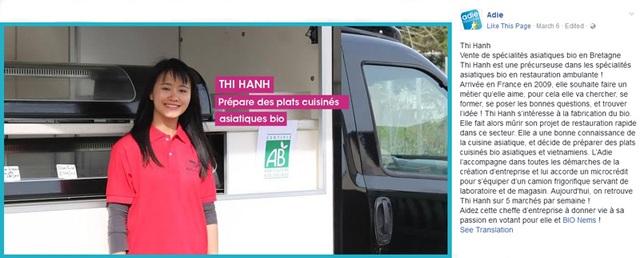 Đoàn Thị Hạnh đang là thí sinh tại cuộc thi bình chọn Ý tưởng khởi nghiệp được yêu thích nhất do Adie tổ chức trên facebook.