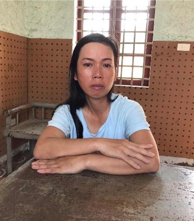 Đối tượng Nguyễn Thị Thảo tại cơ quan công an