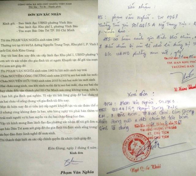 Đơn xác nhận của chính quyền địa phương về hoàn cảnh gia đình ông Phạm Văn Nghĩa