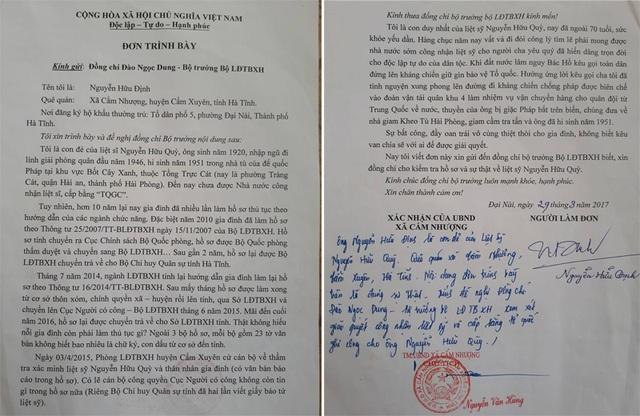 Đơn ông Nguyễn Hữu Định, con trai liệt sĩ Nguyễn Hữu Quỳ gửi Bộ trưởng Đào Ngọc Dung về sự thiệt thòi của người cha.