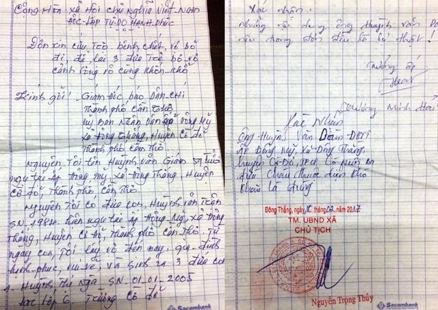 Đơn cầu cứu của ông Huỳnh Văn Giám gửi đến báo Dân trí