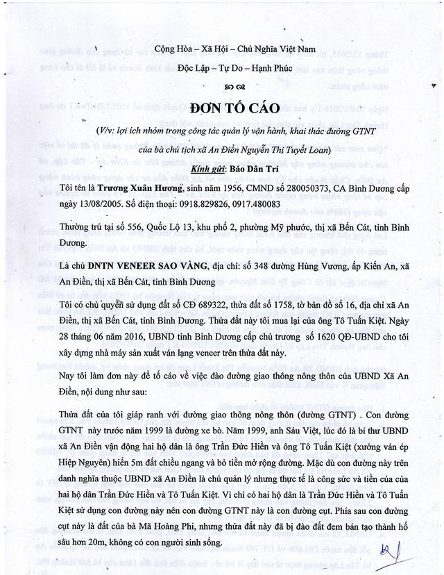 Đơn của bà Hương gửi đến Báo Dân trí.
