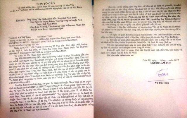 Đơn tố cáo bà Toán gửi đến cơ quan Công an