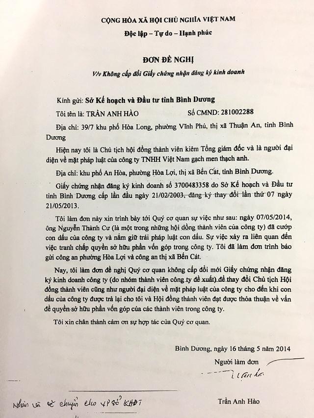 Ông Hào có đơn đề nghị Sở Kế hoạch và Đầu tư không cấp đổi giấy chứng nhận đăng kí kinh doanh.