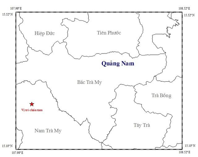 Vị trí xảy ra động đất ngày 1/3. (Ảnh: Viện vật lý địa cầu)