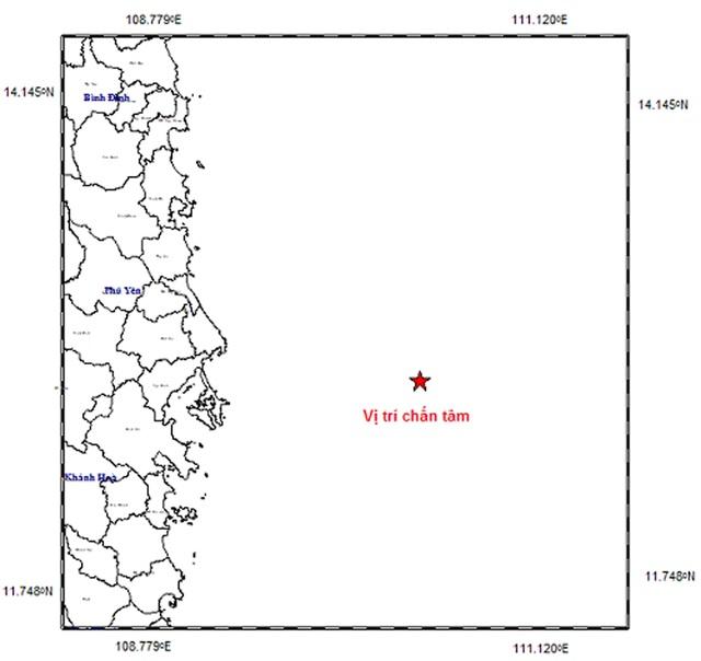 Vị trí tâm chấn động đất trên Biển Đông (Ảnh: Viện Vật lý địa cầu).