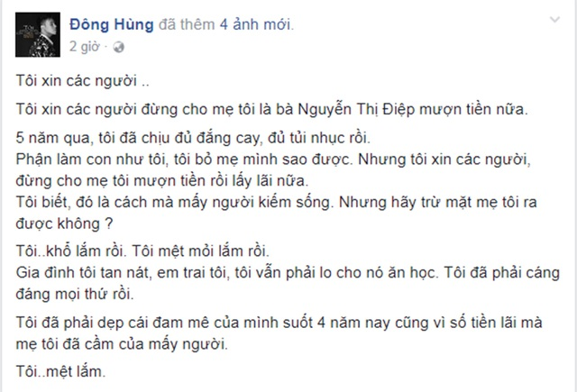 Dòng chia sẻ trạng thái của Đông Hùng khiến nhiều người bất ngờ