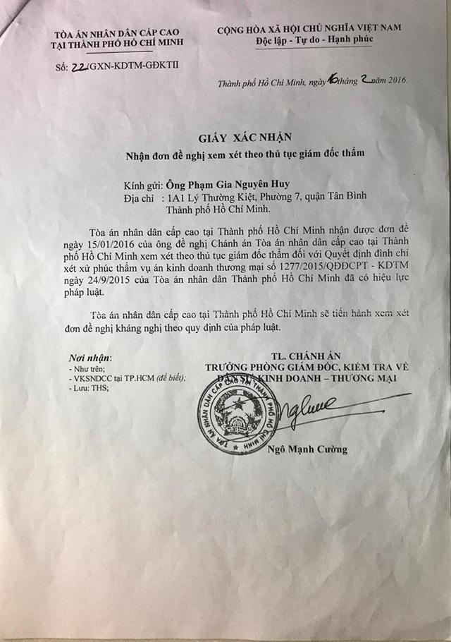 Ngày 16/2/2016, đơn của ông Huy được TAND Cấp cao tại TP.HCM chấp nhận và sẽ tiến hành xem xét đơn đề nghị kháng nghị theo quy định của pháp luật.
