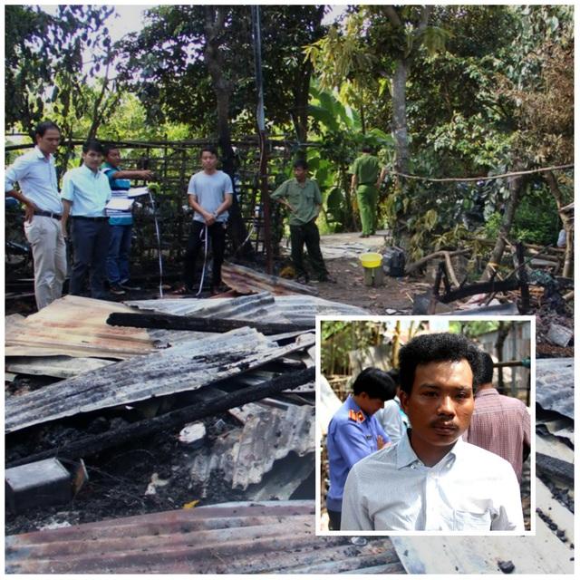 Hiện trường vụ Nguyễn Thanh Hiền (ảnh nhỏ) phóng hỏa đốt nhà mẹ ruột khi xin tiền không được