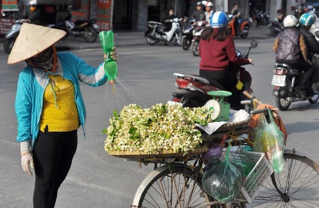 Hoa bưởi bán trên phố chủ yếu được các lái buôn nhập từ Hòa Bình, Hưng Yên… Ở Hà Nội, hoa bưởi được bán rong nhiều trên phố Giảng Võ, Xã Đàn, Nghĩa Tân… Để lựa được những cành hoa đẹp nhất, người bán phải thức dậy cắt cành từ sáng sớm, khi những giọt sương vẫn còn đọng trên lá, sau đó bó lại thành từng chùm mang đi bán.