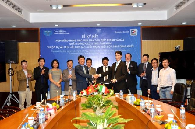 Công ty CP Thép Hòa Phát Dung Quất và Tập đoàn Danieli (Italy) đã ký kết hợp đồng cung cấp và lắp đặt thiết bị đầu tiên cho dự án Khu liên hợp sản xuất gang thép Hòa Phát Dung Quất tại tỉnh Quảng Ngãi