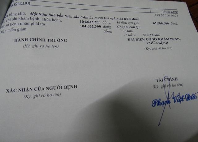 Những phiếu thu hàng chục, hàng trăm triệu đồng khi anh Minh điều trị ở bệnh viện