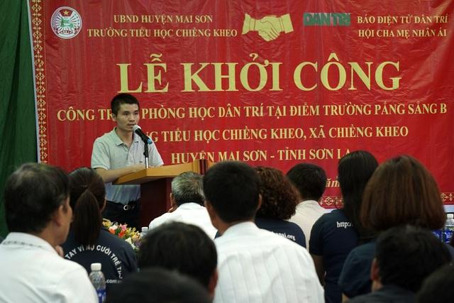 Phó TBT Báo điện tử Dân Trí Phạm Tuấn Anh phát biểu tại lễ khởi công phòng học Dân Trí tại điểm trường Pắng Sằng B