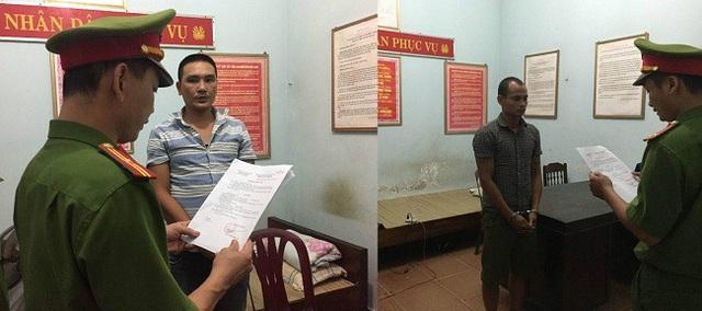 Hai đối tượng Cao Thanh Hải (ảnh trái) và Phạm Thanh Phúc bị bắt giữ. (Ảnh CAQB)