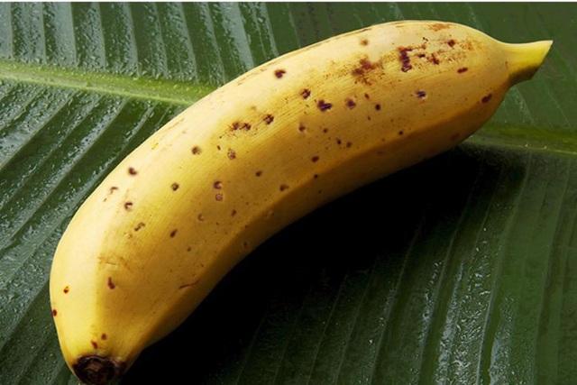 Cận cảnh một trái chuối Mongee đã chín với các vết đốm bên ngoài