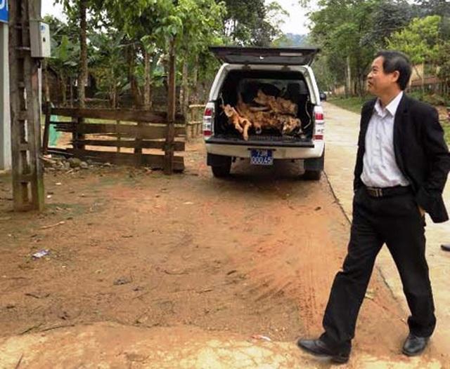 Chiếc xe biển xanh của Trung tâm Y tế dự phòng huyện Tuyên Hoá mang BKS 73M – 000.45 chở gỗ giáng hương lậu. (Ảnh: D.V)