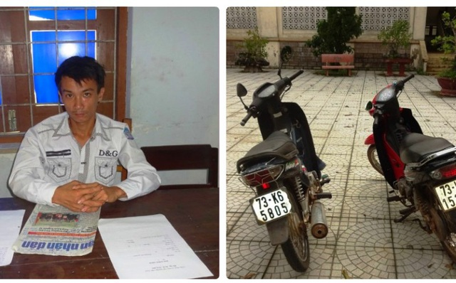 Hồ Công Hoàng cùng tang vật bị bắt giữ tại cơ quan công an (Ảnh: Công an cung cấp)