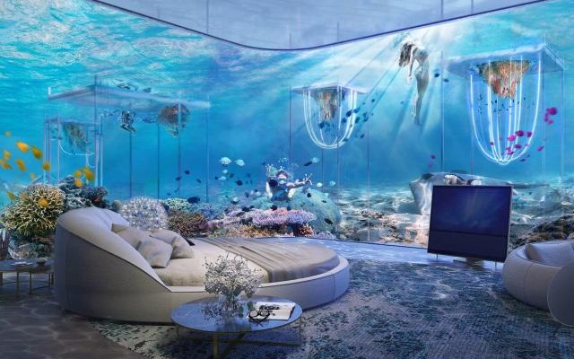 Một trong những căn phòng thiết kế dưới nước