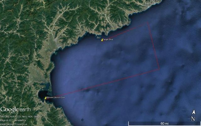 Đường bay của tên lửa Kumsong-3 hay KN19 mà Triều Tiên phóng thử hôm 8/6. (Ảnh: Google Earth)
