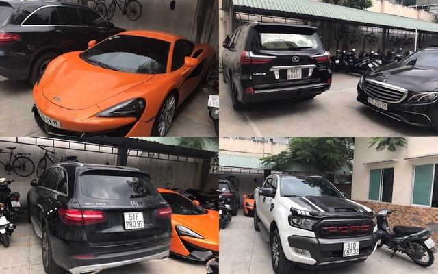 Những chiếc xe ô tô đắt tiền mà các đối tượng sử dụng bị tịch thu