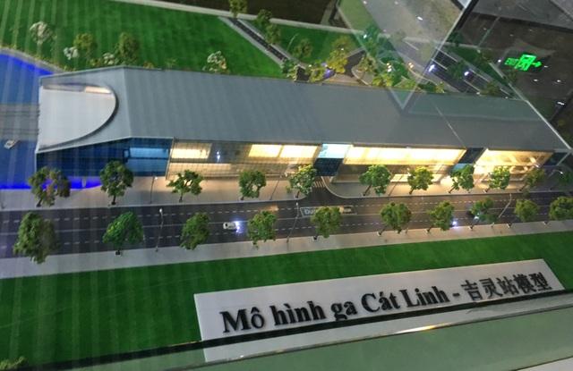 Mô hình ga Cát Linh được trưng bày tại nhà ga mẫu La Khê hiện tại