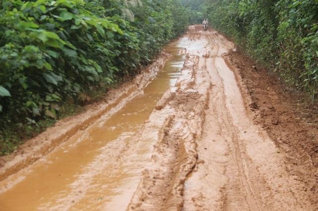Các em học sinh địa phương phải nghỉ học vì đường quá lầy lội