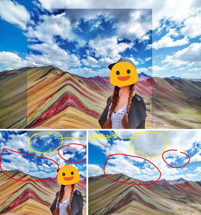 Trong một trong hai bức ảnh dưới, những đám mây có khoảng cách xa hơn trong bức ảnh gốc của chủ nhà