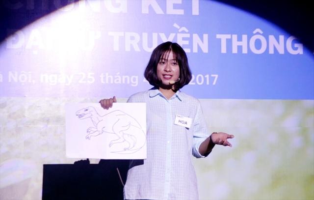 Nguyễn Thị Hải Hoa – ĐH Khoa học Tự nhiên – ĐH Quốc gia Hà Nội giành giải Nhì của chương trình với phần thuyết trình về phương pháp điều trị ung thư mới.