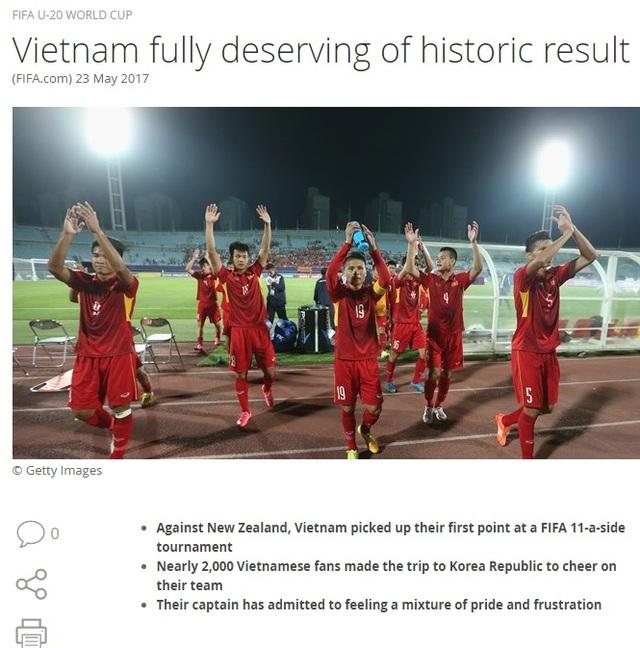 Trang chủ FIFA có bài viết chiến tích lịch sử của U20 Việt Nam