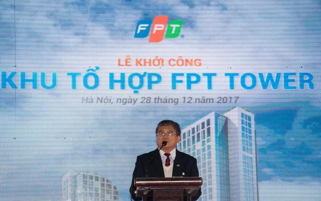 Ông Bùi Quang Ngọc, Tổng Giám đốc FPT, phát biểu tại lễ Khởi công toà nhà FPT Tower.
