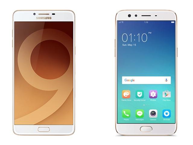 Galaxy C9 Pro (bên trái) và Oppo F3 Plus (bên phải)