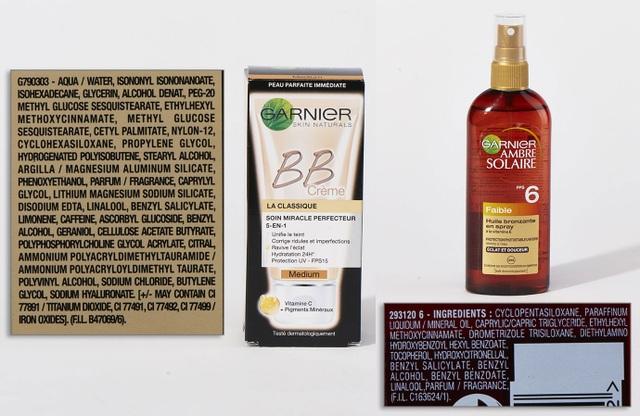 BB Cream và kem chống nắng Garnier có Ethylhexyl, methoxycinnamate, BHT, Cyclopentasiloxane