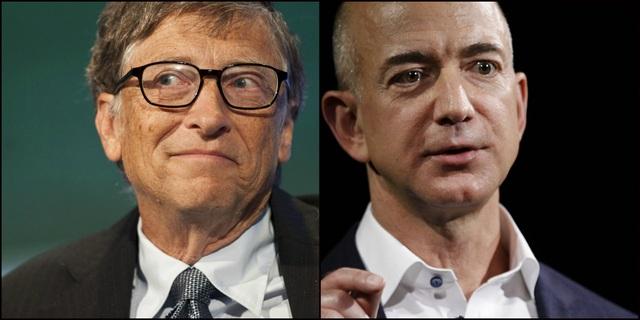 Tỷ phú Bill Gates và tỷ phú Jeff Bezos. (Nguồn: Tech Juice)