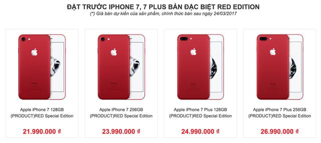 Giá iPhone 7 và 7 Plus màu đỏ xách tay dự kiến nhận hàng từ 24/3