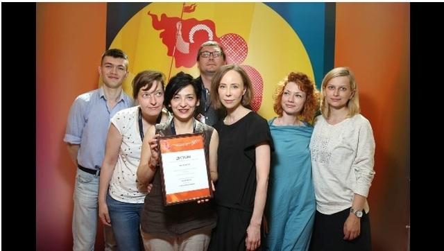 Niềm vui của tác giả nhận giải thưởng tại Liên hoan phim Matxcova 2017.