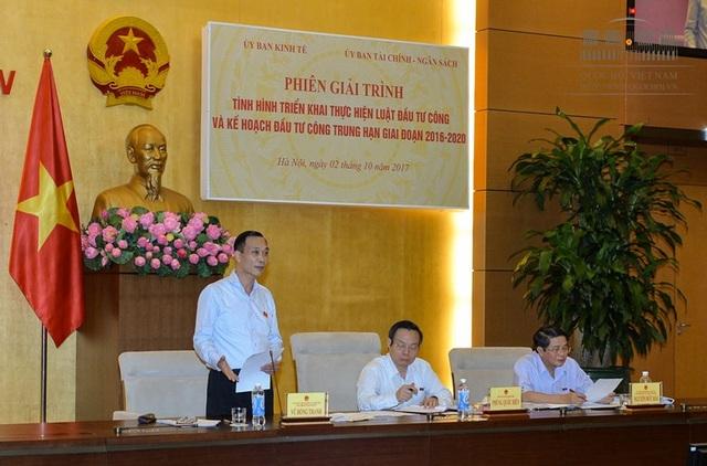 Phó Chủ tịch Quốc hội Phùng Quốc Hiển và lãnh đạo UB Kinh tế, UB Tài chính - Ngân sách chủ trì phiên giải trình.