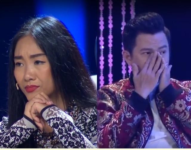 Nghệ sĩ Đoan Trang và Quốc Đại nghẹn ngào. Đặc biệt, Quốc Đại liên tục rơi nước mắt trước phần diễn xuất của học trò nhí.