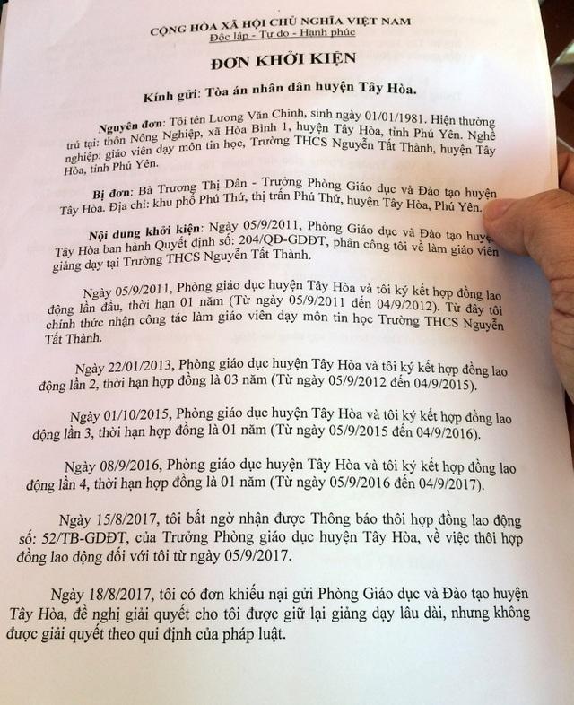 Đơn kiện của thầy giáo Lương Văn Chinh
