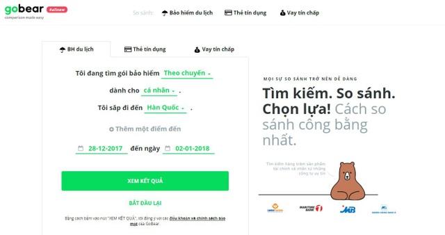 Ngoài so sánh thẻ tín dụng và các khoản vay tín chấp, trang web GoBear cho phép so sánh và lựa chọn từ gần 70 gói bảo hiểm du lịch quốc tế từ các nhà cung cấp tại thị trường Việt Nam.